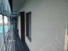 前回より明るい外壁色で仕上げました。汚れが付きにくい塗装なので薄い色も大丈夫です。