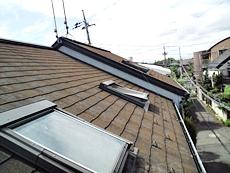 屋根は藻やコケが発生していました。